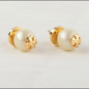 """Tory Burch """"Evie"""" gold plated pearl earrings"""